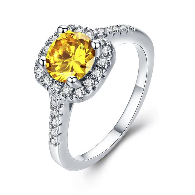 Yellow Stone Cubic Zirconia Ring