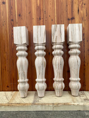 "Ambrosia Maple Chunky Unfinished Farmhouse Dining Table Legs - 5"" x 5"" x 29"" - Set of 4"