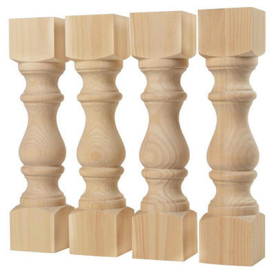 "Monastery Knotty Pine Farmhouse Bench Legs - 3.5"" x 3.5"" x 16"""