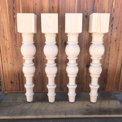"Modern Chunky Farmhouse Dining Leg - 5"" x 29"" - Knotty Pine - Set of 4"