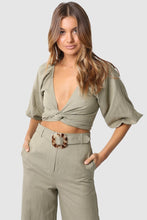 Load image into Gallery viewer, Carter Crop Khaki Top Madison the Label