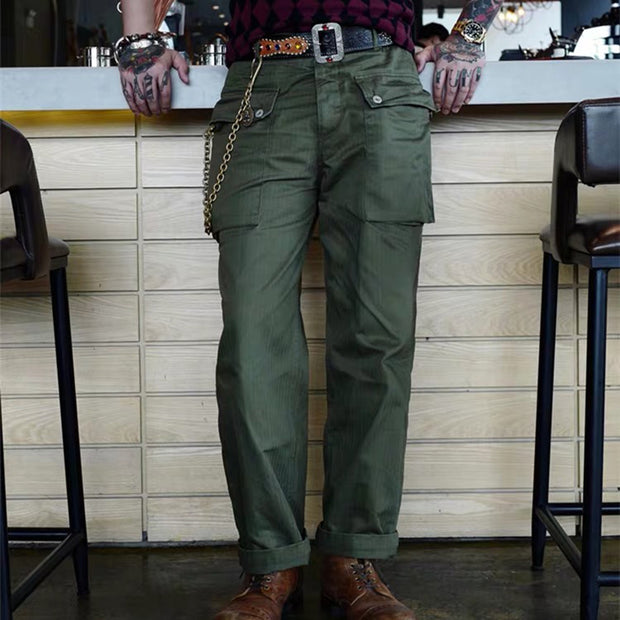 Mens Casual Solid Color Pocket Straight Pants