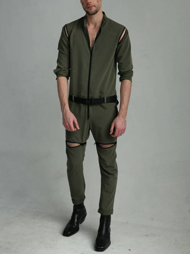 Men's casual dark green zipper design jumpsuit