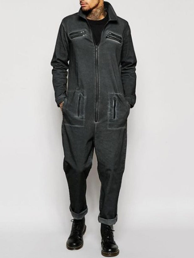 Fashion men's lapel black zip denim jumpsuit