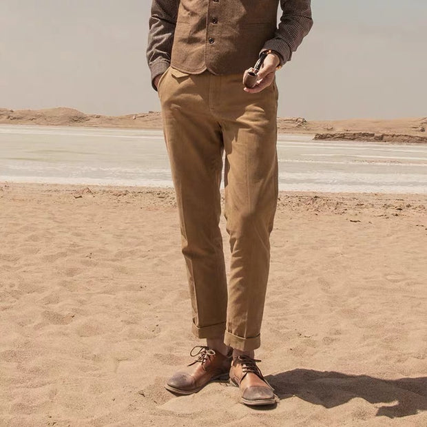 Mens classic solid color slim trousers