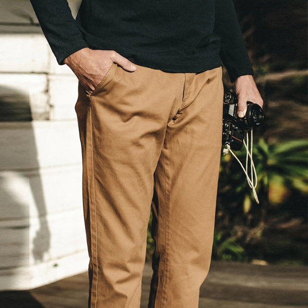 Mens Classic Casual Slim Solid Color Trousers