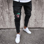 Patched Zipper-Cuff Jeans