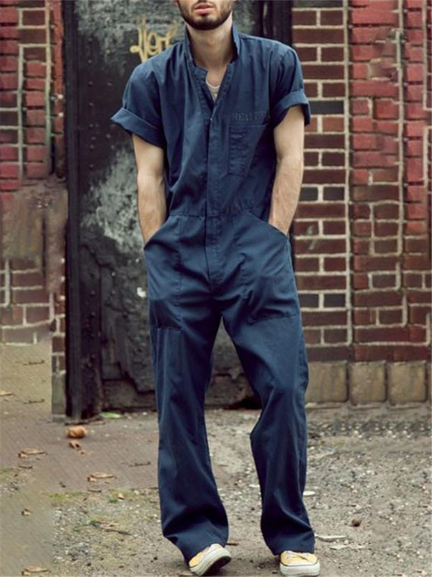 Men's Stand Collar Loose Solid Color Jumpsuit
