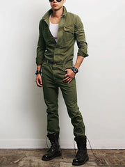 Men's Fashion Army Green Lapel Long Sleeve Pocket Jumpsuit
