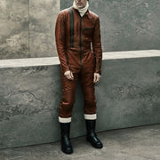 Men's modern fashion faux leather motorcycle jumpsuit