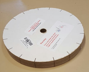 "1250101 - Slotted Wheel, 8"" x 1"", w/5/8"" hole w/ 1/2"" adapter, bigfoot-carving-tools, sharpening, buffing"