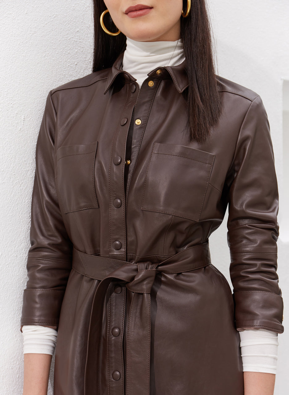 Rachel Leather Shirt Dress