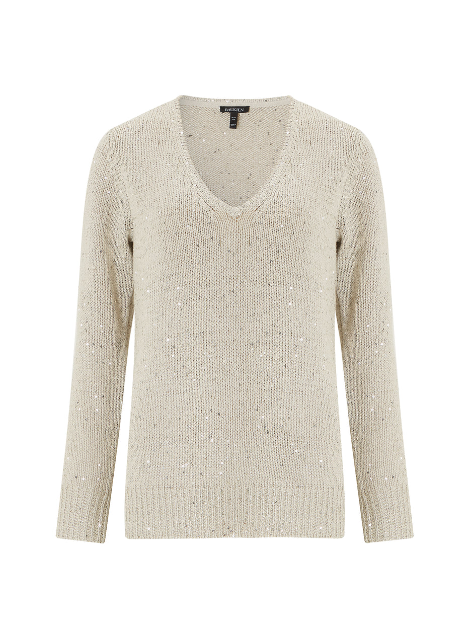 Emelina V Neck Sequin Knit