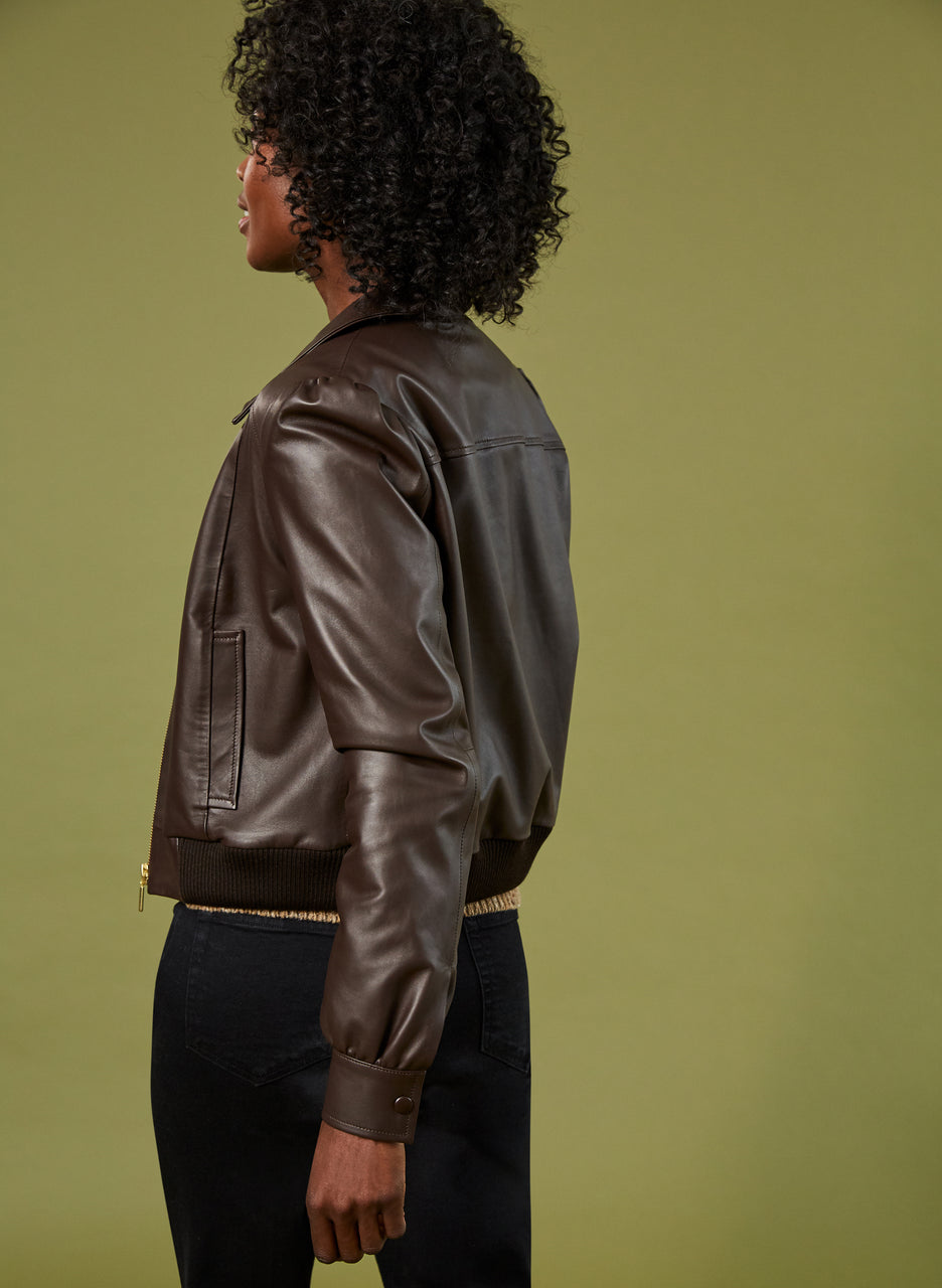 Sacha Leather Bomber Jacket