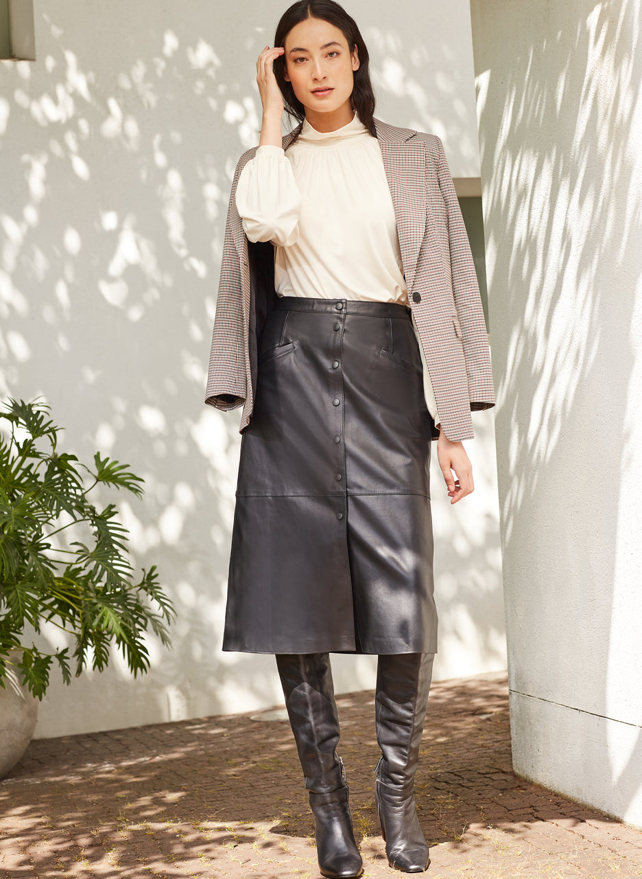 Kara Leather Button Skirt