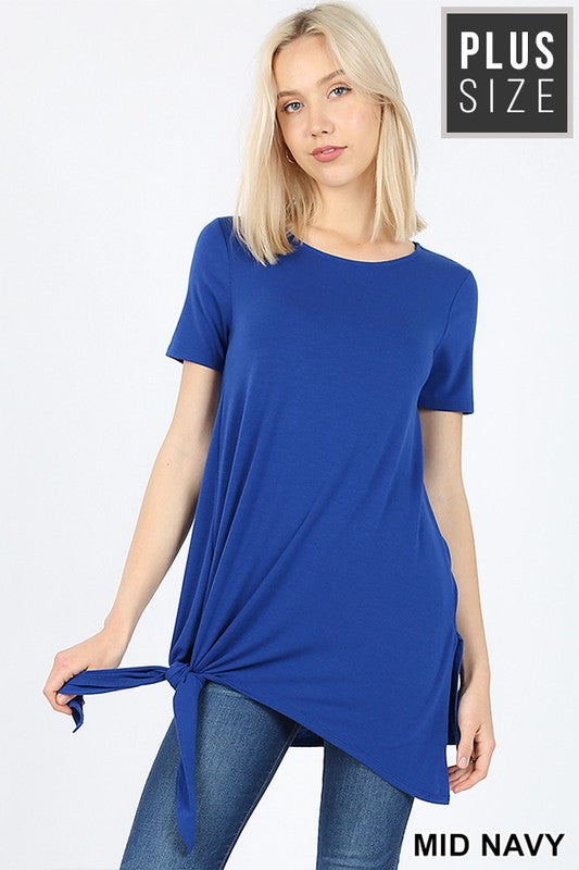 Navy Side Tie Top - Plus Size