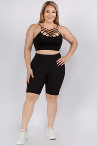 Plus Size Back in Black Biker Shorts
