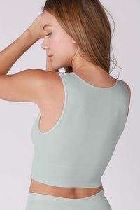 Plunge V-Neck Crop Top - Aqua Haze