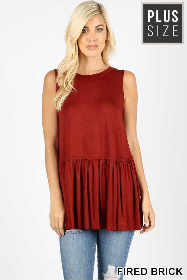 Fired Brick Ruffle Top - Plus Size