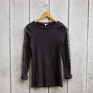 leopard trim ribbed tee