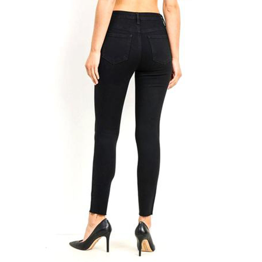 button fly skinny jeans - black