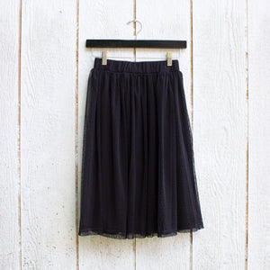 black dotted lace circle skirt