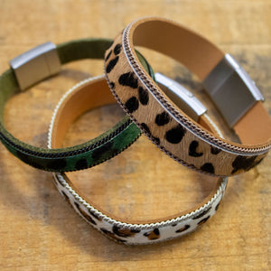 leather animal print cuff