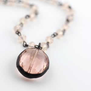 camellia short crystal pendant necklace