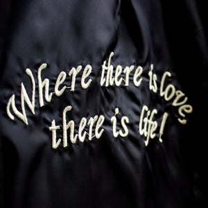 black twill embroidered car coat