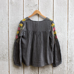 clara stripe embroidered top