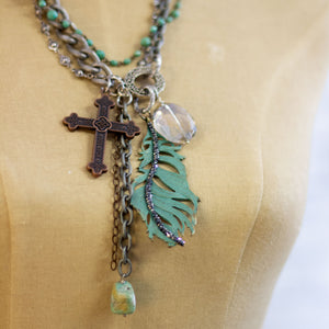 turquoise feather charm necklace