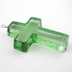 recycled green glass cross