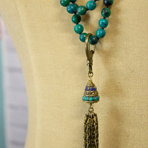 niagara green tibetan tassel necklace