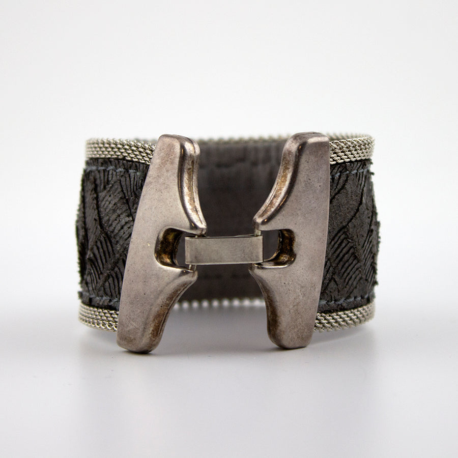 pewter metallic leather cuff