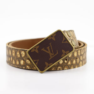 leather belt with repurposed LV buckle