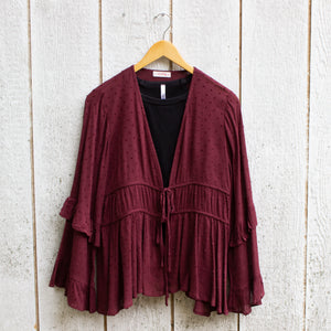 merlot dotted cardigan