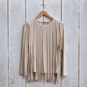 birdie's fringed top, oyster