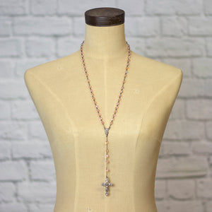 pink crystal rosary necklace