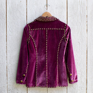 ruby studded velvet blazer back