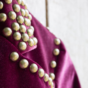 ruby studded velvet blazer shoulder detail
