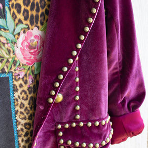 ruby studded velvet blazer with tee detail