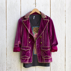 ruby studded velvet blazer with tee