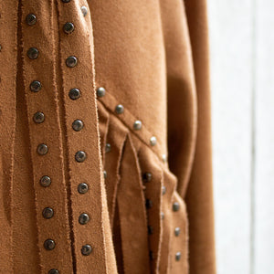 studded faux suede jacket detail