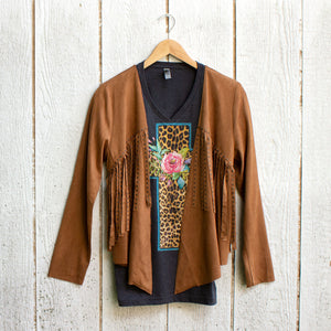 studded faux suede jacket with tee