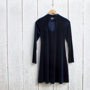 velvet sapphire swing dress back