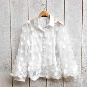 white bubbles blouse