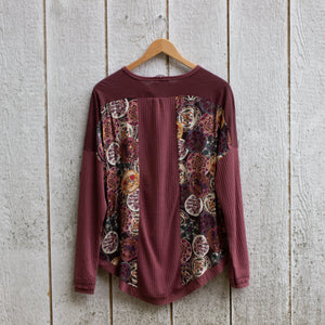 berry boho printed top