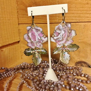handpainted rose earrings