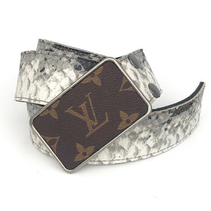 gray & ivory snake  leather belt (LV repuposed buckle)