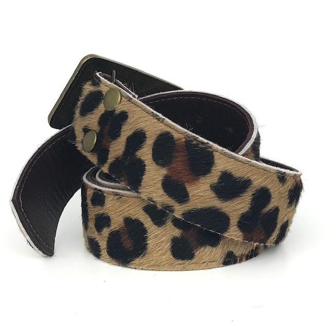 leopard cowhide leather belt (LV repuposed buckle)